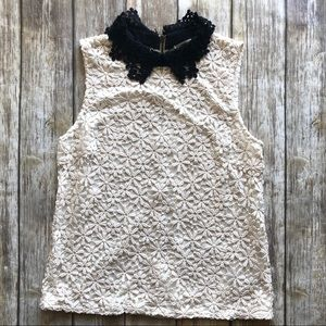 Anthropologie Black and White Lace Blouse